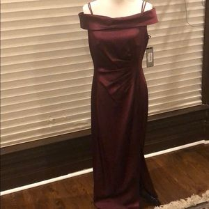 Beautiful satin burgundy maxi dress